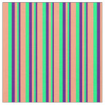 [ Thumbnail: Indigo, Green, and Light Salmon Colored Stripes Fabric ]