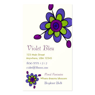 Indigo & Green Fun Flowers Double-Sided Standard Business Cards (Pack Of 100)