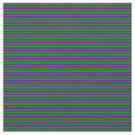 [ Thumbnail: Indigo & Green Lined Pattern Fabric ]