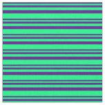 [ Thumbnail: Indigo & Green Pattern Fabric ]