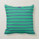 [ Thumbnail: Indigo & Green Pattern Throw Pillow ]