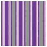 [ Thumbnail: Indigo, Grey, Orchid & Lavender Lines Pattern Fabric ]