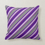 [ Thumbnail: Indigo, Grey, Orchid & Lavender Lines Pattern Throw Pillow ]