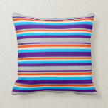 [ Thumbnail: Indigo, Grey, Red, Beige & Deep Sky Blue Colored Throw Pillow ]