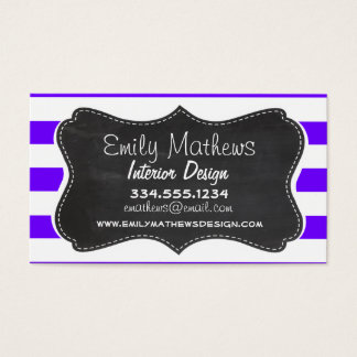 Indigo Horizontal Stripes; Chalkboard Business Card