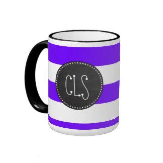 Indigo Horizontal Stripes; Chalkboard Ringer Coffee Mug