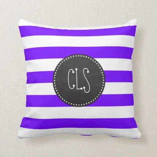Indigo Horizontal Stripes; Chalkboard Pillows