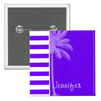 Indigo Horizontal Stripes; Palm Pinback Button