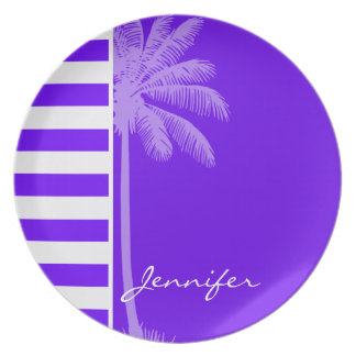 Indigo Horizontal Stripes; Palm Party Plates