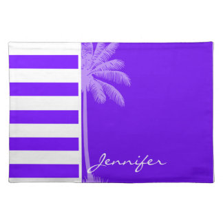 Indigo Horizontal Stripes Palm Placemats