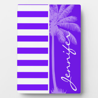 Indigo Horizontal Stripes; Palm Display Plaque