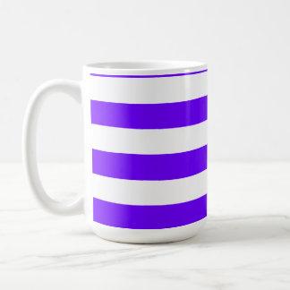 Indigo Horizontal Stripes; Striped Classic White Coffee Mug