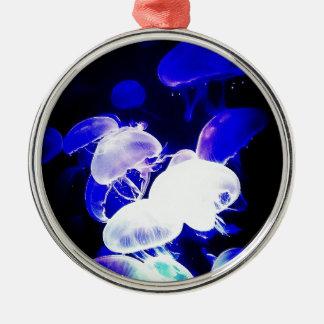 Indigo Jellyfish Round Metal Christmas Ornament