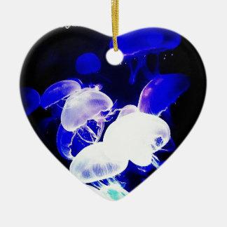 Indigo Jellyfish Double-Sided Heart Ceramic Christmas Ornament