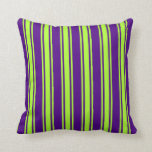 [ Thumbnail: Indigo & Light Green Colored Pattern Throw Pillow ]