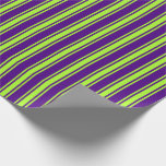 [ Thumbnail: Indigo & Light Green Colored Pattern Wrapping Paper ]