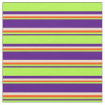 [ Thumbnail: Indigo, Light Green, Red & Tan Stripes Pattern Fabric ]