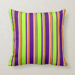 [ Thumbnail: Indigo, Light Green, Red & Tan Stripes Pattern Throw Pillow ]