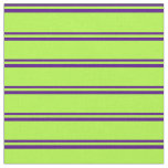 [ Thumbnail: Indigo & Light Green Stripes/Lines Pattern Fabric ]