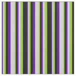 [ Thumbnail: Indigo, Light Grey, Green & Black Colored Stripes Fabric ]