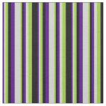 [ Thumbnail: Indigo, Light Grey, Green & Black Colored Stripes Fabric ]