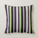 [ Thumbnail: Indigo, Light Grey, Green & Black Colored Stripes Throw Pillow ]