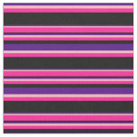 [ Thumbnail: Indigo, Light Pink, Deep Pink & Black Lines Fabric ]