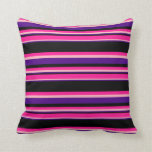 [ Thumbnail: Indigo, Light Pink, Deep Pink & Black Lines Pillow ]