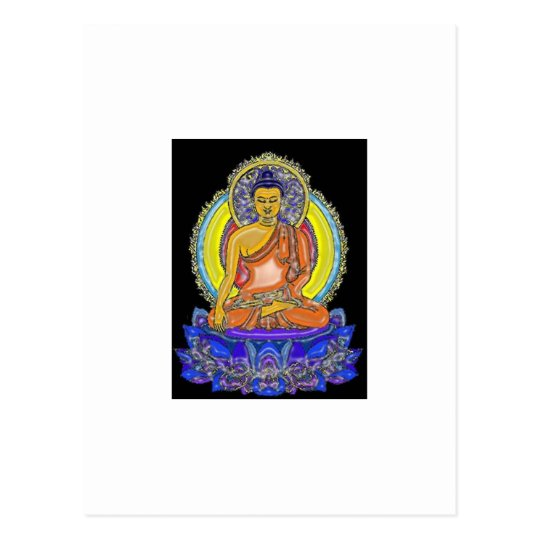 Indigo Lotus Buddha Postcard