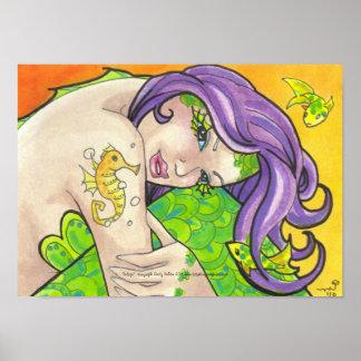 Indigo Mermaid seahorse tattoo fantasy art poster