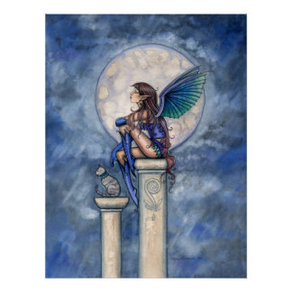 Indigo Moon Fairy and Cat Poster Print