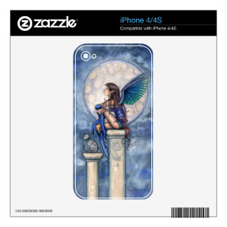 Indigo Moon Fantasy Fairy and Cat Art Decal For The iPhone 4S