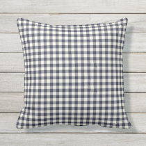 Indigo / Navy Blue Gingham Pattern Outdoor Pillows