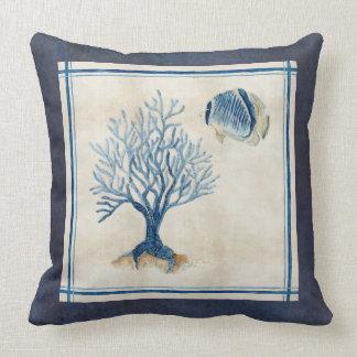 Indigo Ocean Beach Sketchbook Watercolor Coral F Throw Pillow
