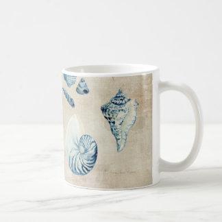 Indigo Ocean Beach Sketchbook Watercolor Shells Coffee Mug