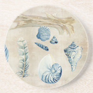 Indigo Ocean Beach Sketchbook Watercolor Shells Drink Coaster