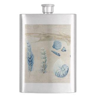 Indigo Ocean Beach Sketchbook Watercolor Shells Hip Flask