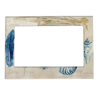 Indigo Ocean Beach Sketchbook Watercolor Shells Magnetic Picture Frame