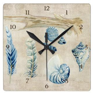 Indigo Ocean Beach Sketchbook Watercolor Shells Square Wall Clock