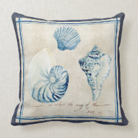 Indigo Ocean Beach Sketchbook Watercolor Shells Throw Pillow