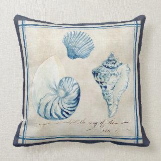 Indigo Ocean Beach Sketchbook Watercolor Shells Throw Pillows