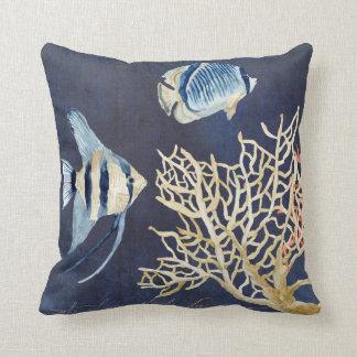 Indigo Ocean Beach Tropical Fish Watercolor Coral Throw Pillows