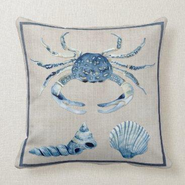 Beach Themed Indigo Ocean Blue Crab Turban Scallop Sea Shells Throw Pillow