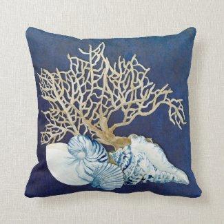 Indigo Ocean Coral Seashells Nautical Beach House Pillow