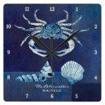 Indigo Ocean Crab Seashells Nautical Beach House Square Wallclocks