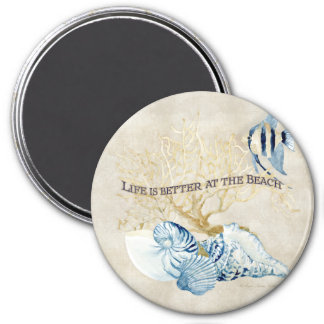 Indigo Ocean Life is Better at the Beach Shells 3 Inch Round Magnet