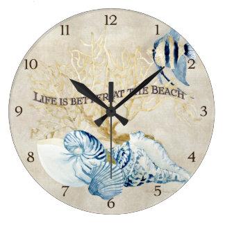 Indigo ocean life is better at the beach shells wallclocks for Seashell wall clock