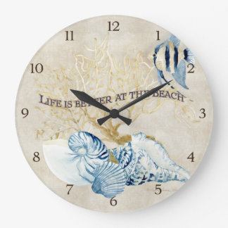 Indigo Ocean Life is Better at the Beach Shells Large Clock