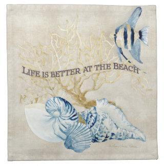 Indigo Ocean Life is Better at the Beach Shells Napkin
