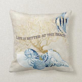 Indigo Ocean Life is Better at the Beach Shells Throw Pillow